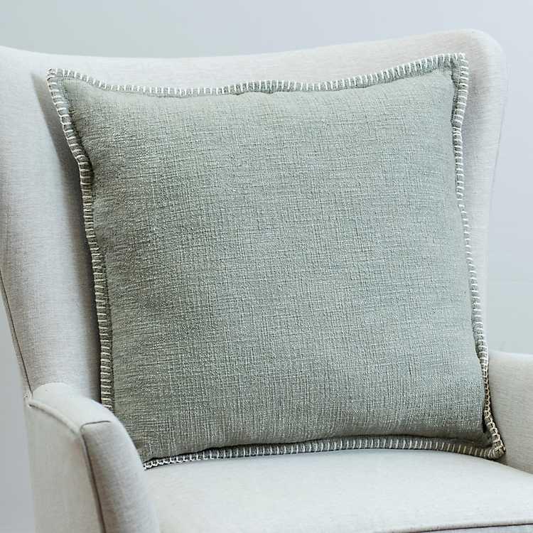 Light Sage Whip Stitched Cotton Pillow Kirklands