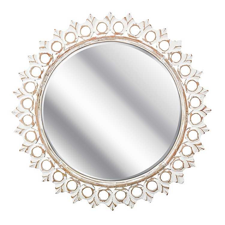 Rustic White Mandala Carved Round Mirror Kirklands
