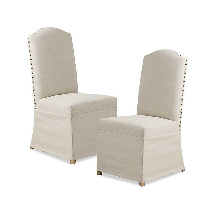 Beige High Back Skirted Dining Chairs Set Of 2 Kirklands