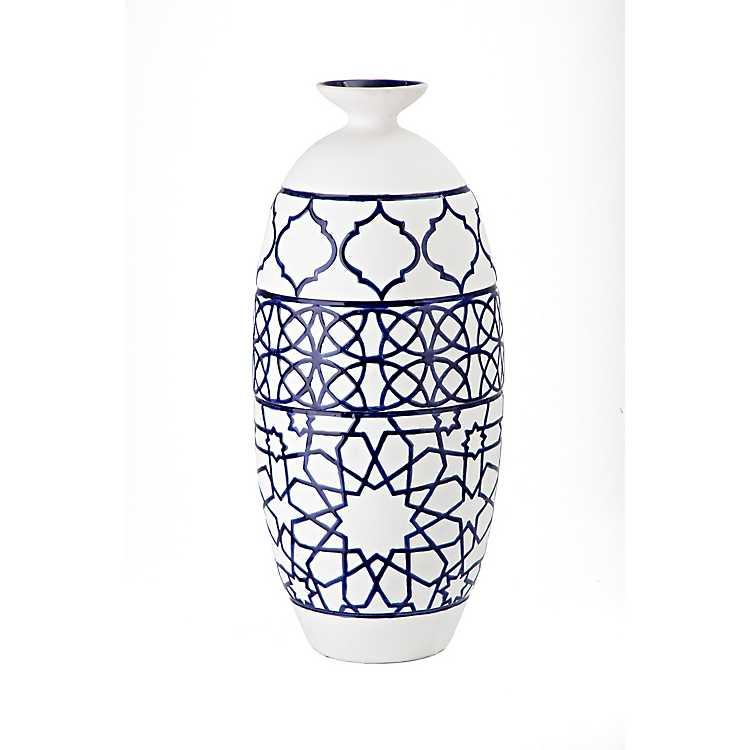 White And Dark Blue Tall Ceramic Vase Kirklands