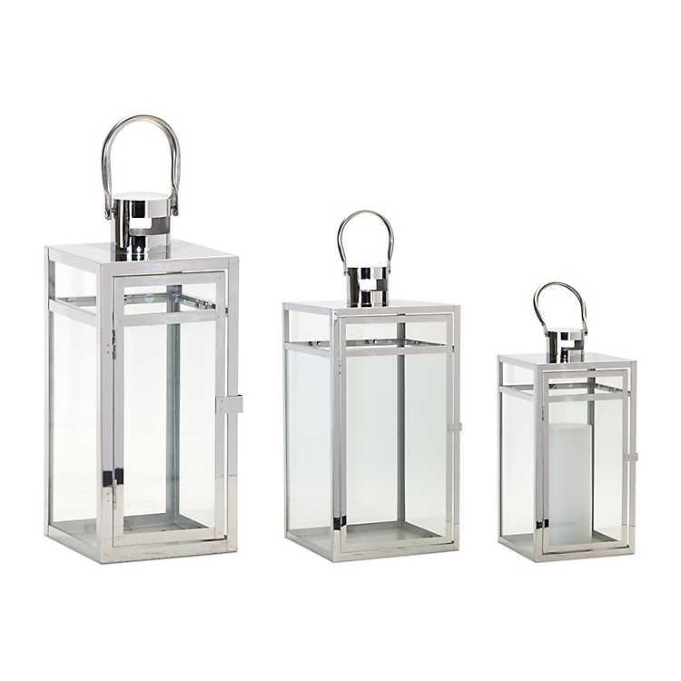 Lanterns Set Of Three Silver Steel Lanterns