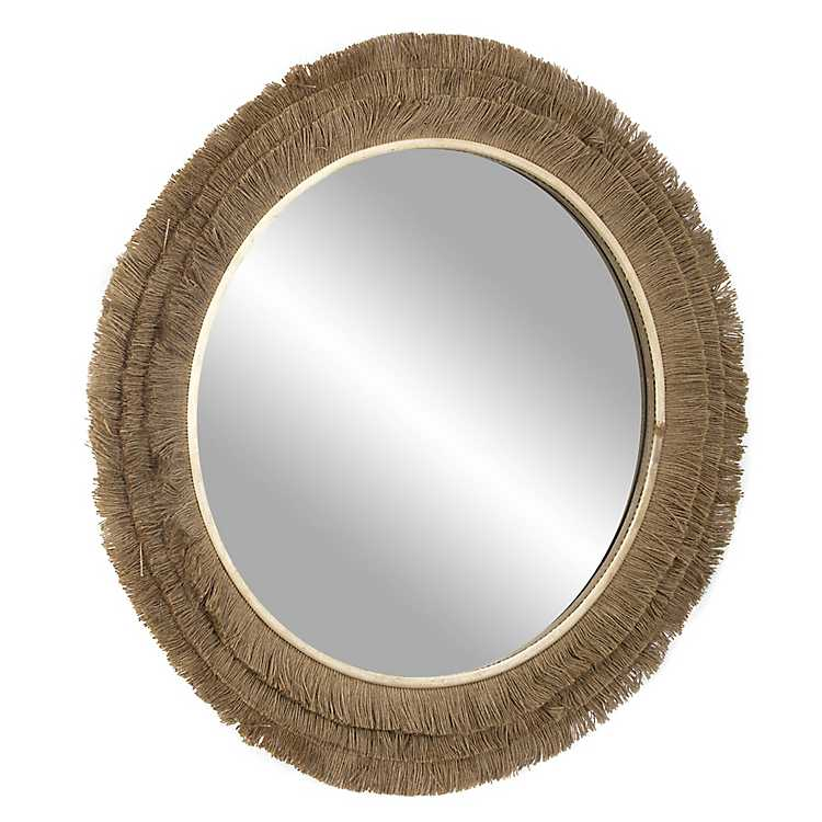 Brown Fringe Jute Round Wall Mirror, Large Decorative Wall Mirrors Australia