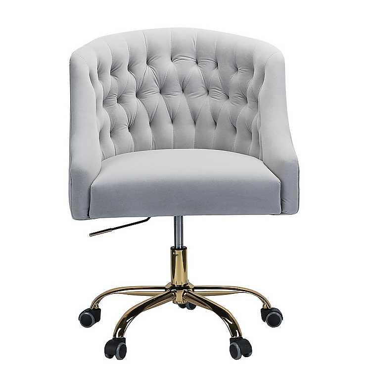 Gray Velvet Tufted Gold Leg Swivel Office Chair Kirklands