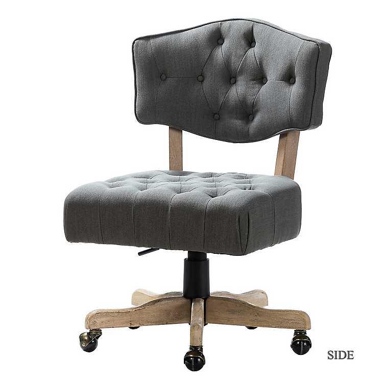 Gray Button Tufted Wooden Leg Swivel Office Chair Kirklands