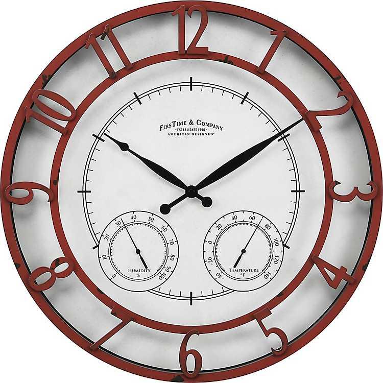 Red Laguna Thermometer Hygrometer Outdoor Clock Kirklands