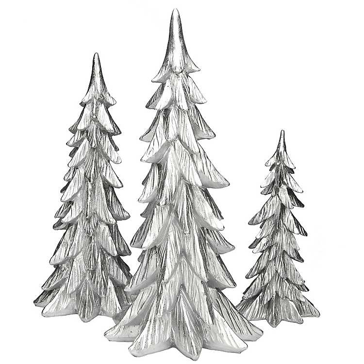 White And Silver Finish Christmas Trees Set Of 3 Kirklands