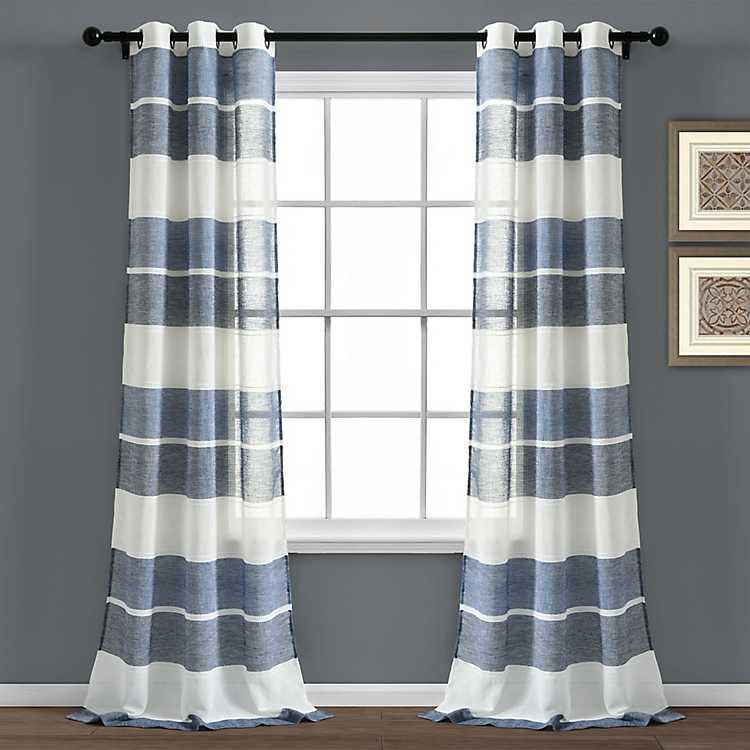 Sheer Navy Textured Stripe Curtain, Navy Striped Curtains