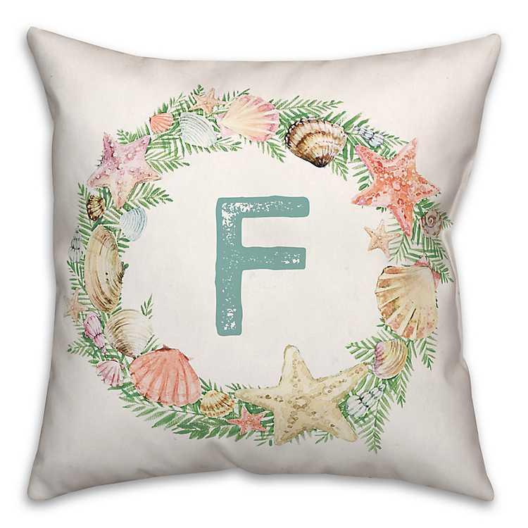 Coastal Christmas Wreath Monogram F Pillow Kirklands