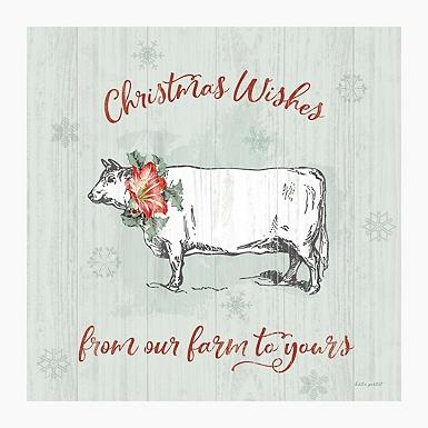Farmhouse Cow Christmas Wishes Canvas Art Print Kirklands