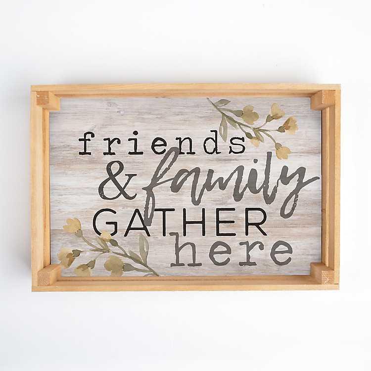 Friends Gather Here Wreath tea towel