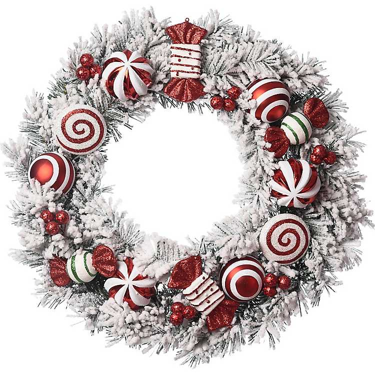 White Frosted Wreath With Red Ornaments Kirklands