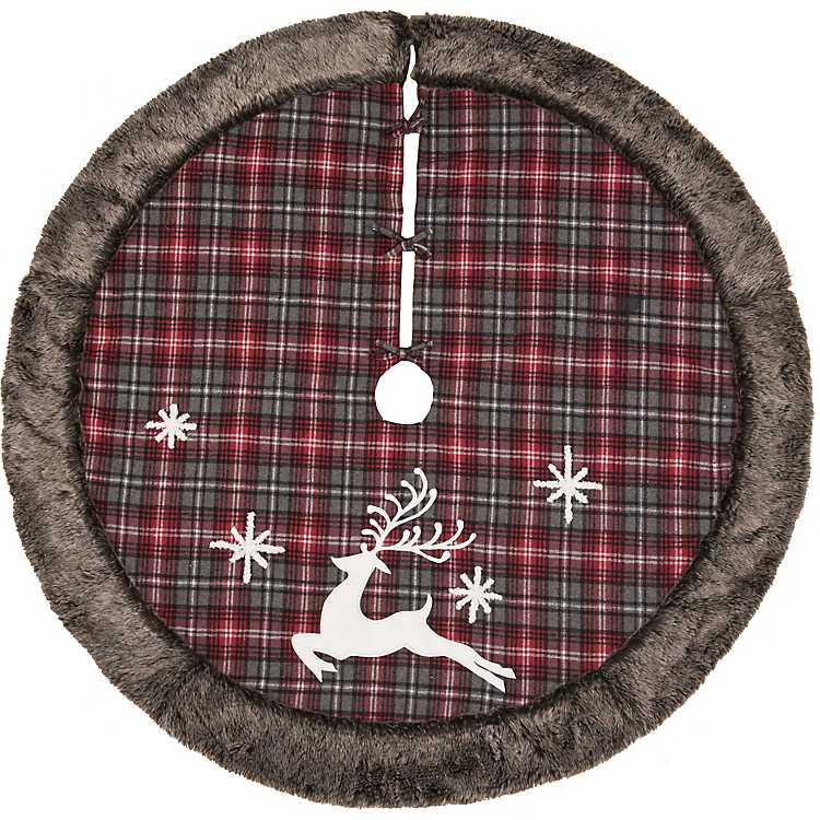 Red And Gray Plaid With Faux Fur Trim Tree Skirt Kirklands