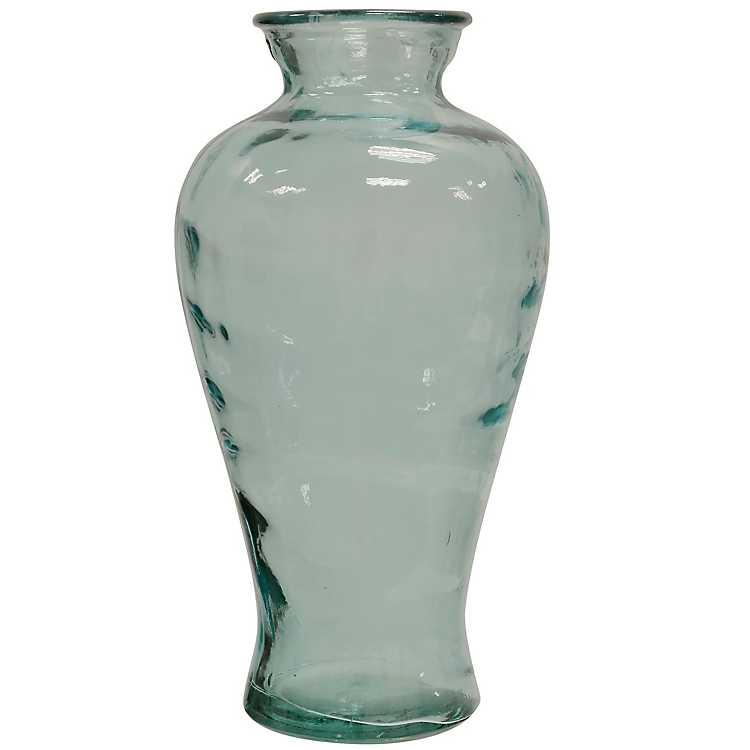 Light Blue Recycled Spanish Glass Vase Kirklands