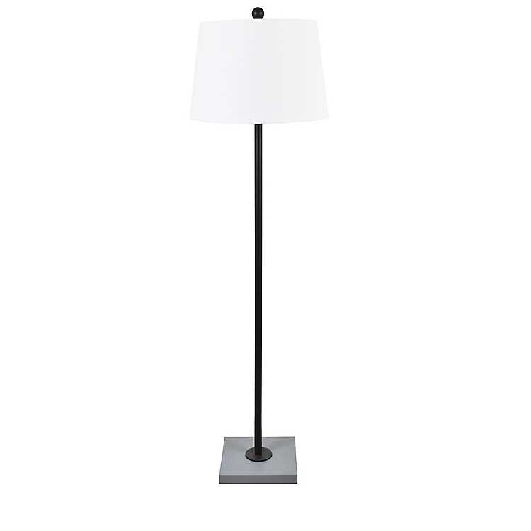 Black Metal Slim Floor Lamp With Square, Black Square Base Table Lamp