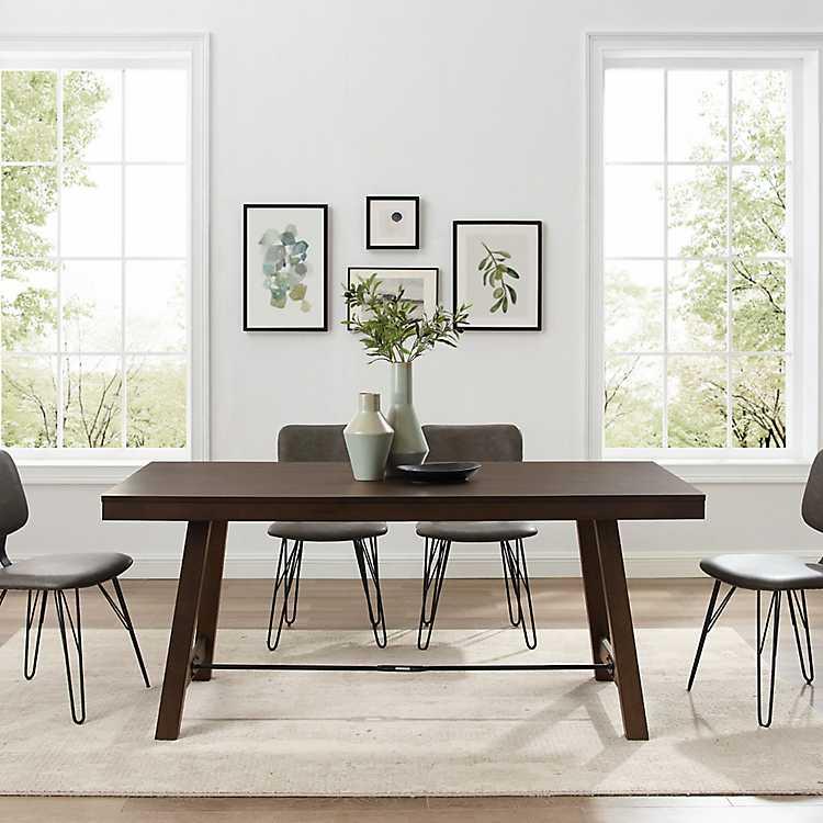 Dark Oak Wood Rustic Dining Table, Rustic Dining Room Table