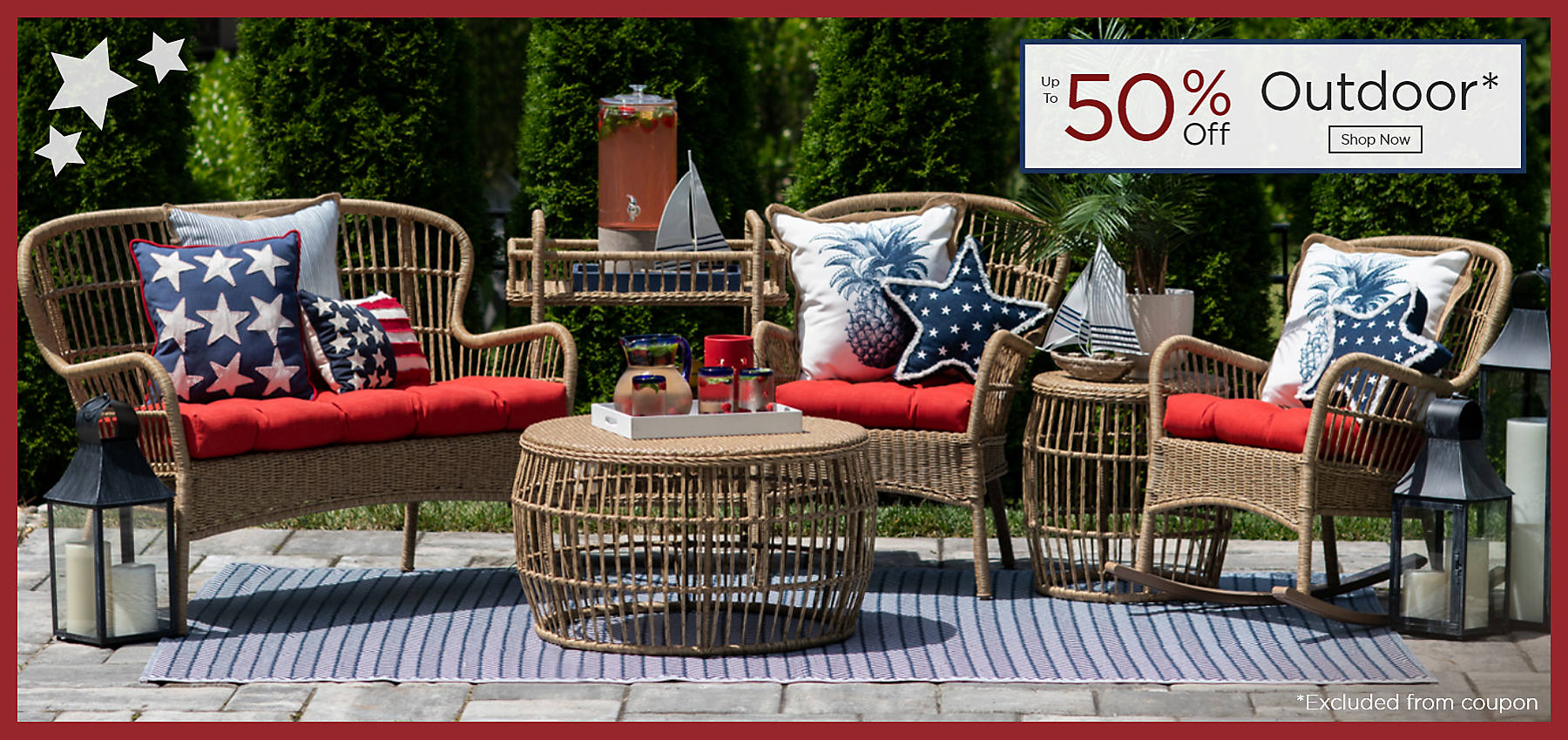Outdoor Up to 50% Off Shop Now Excluded from coupon